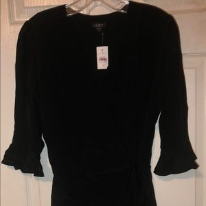 NWT Ann Taylor Loft Wrap Dress Ruffled Black Small